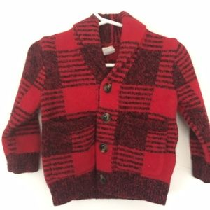 12-18 gap red and black knit plaid button cardigan